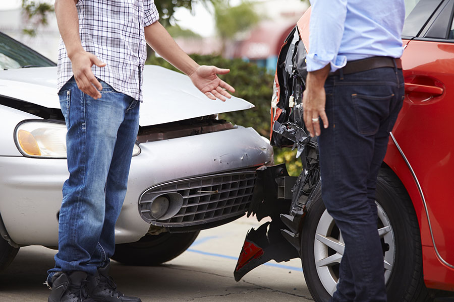 At Fault Car Accident drivers talking