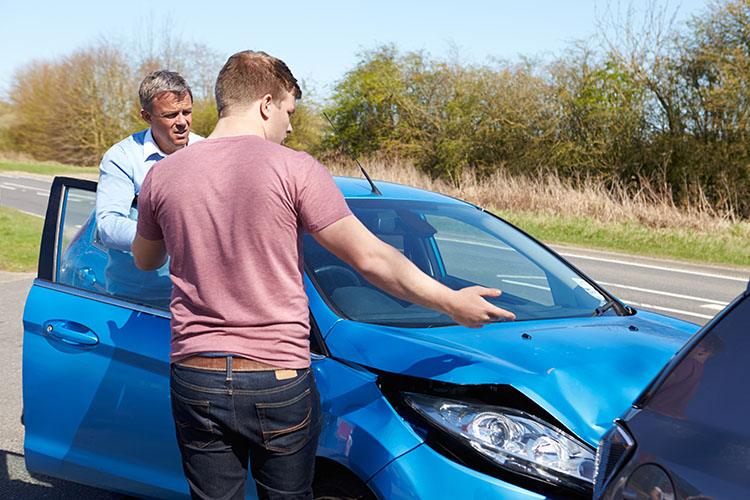 An uninsured motorist after an accident